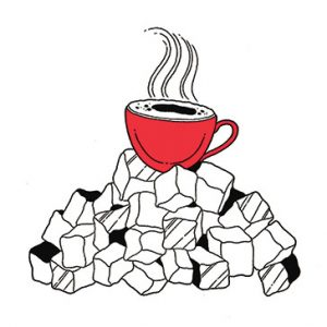 illustration of coffee with sugar cubes