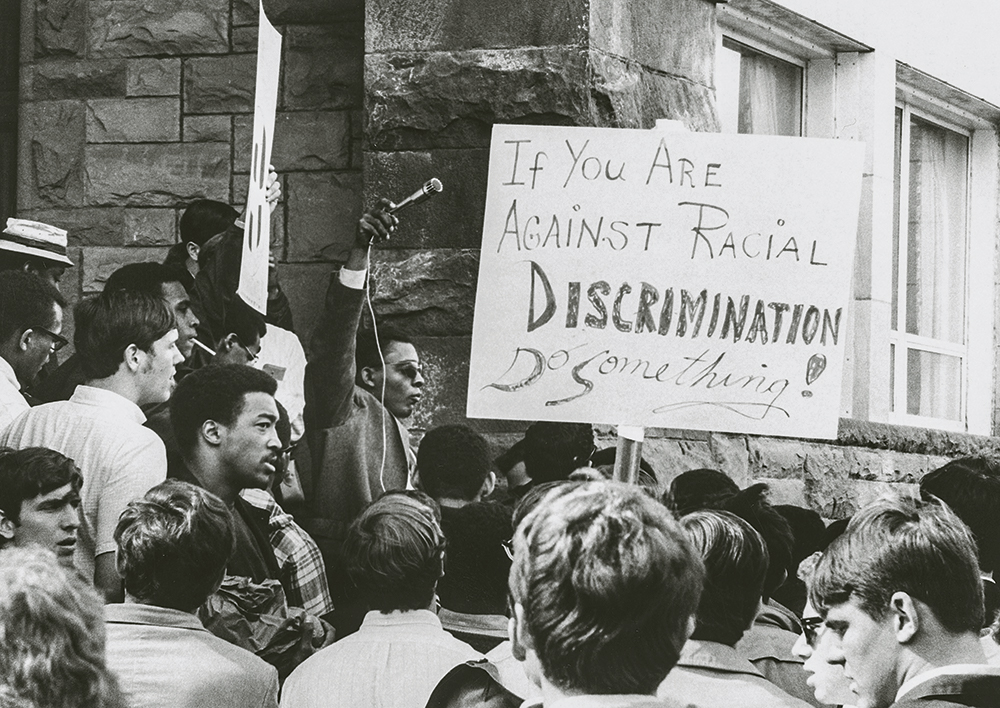 Students at the rally in 1968.