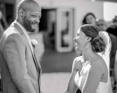 Garrington Spence '10 and Madelyn Santos '09 at their wedding