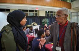 Samira Gure '20 and Robert Fullilove '68 at Mosaic Weekend