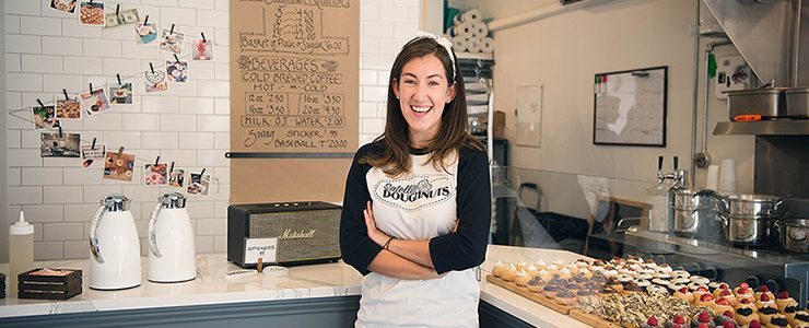 Colby Kingston '18 in her donut shop