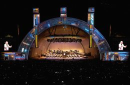 LA Philharmonic stage with lights