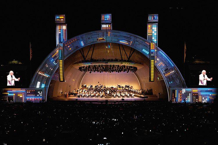 LA Philharmonic stage with lights