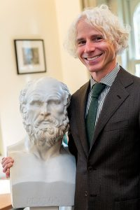 Philosophy professor Ulrich Meyer with bust of Plato