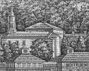 Historically inspired engraving rendition of Colgate Memorial Chapel