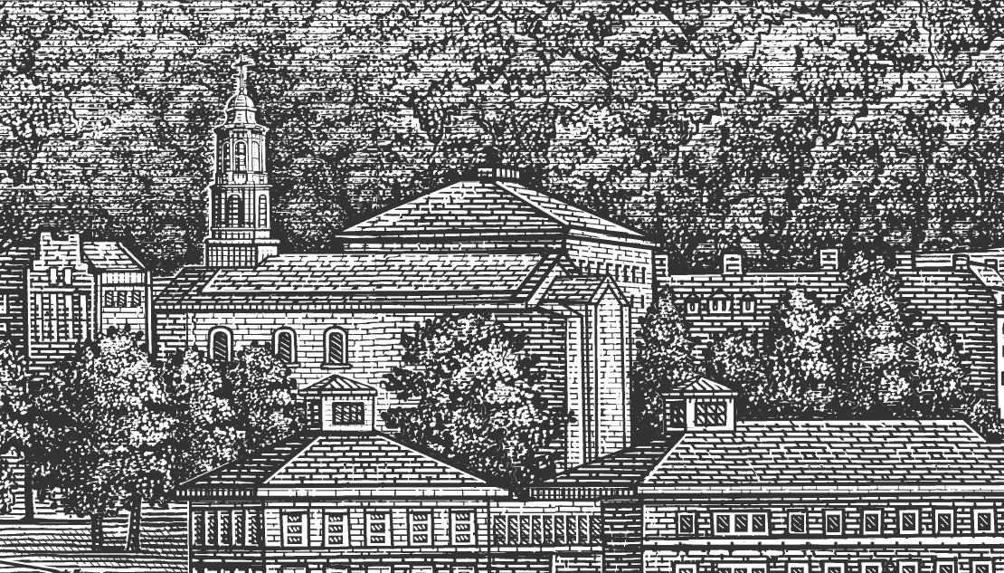 engraving-style illustration of colgate chapel