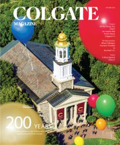 magazine cover- colgate chapel with balloons