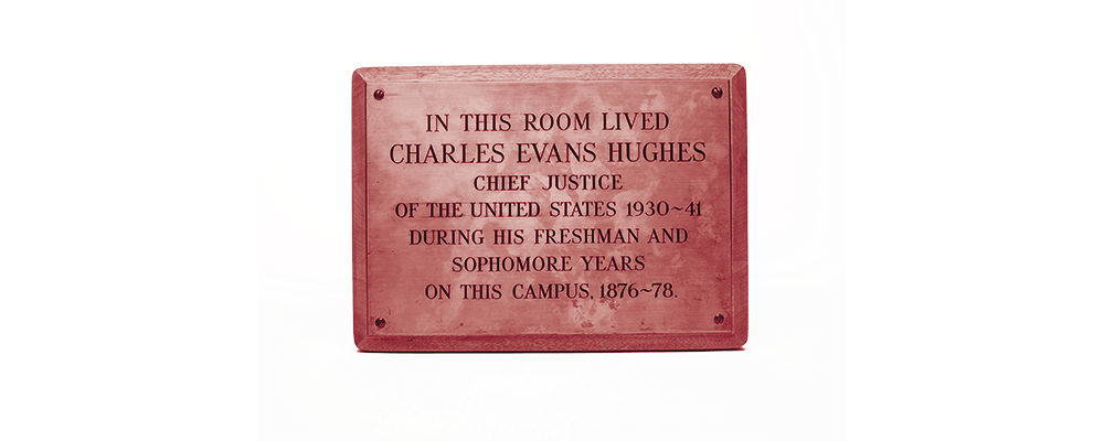 Plaque noting the room where Charles Evans Hughes lived at Colgate