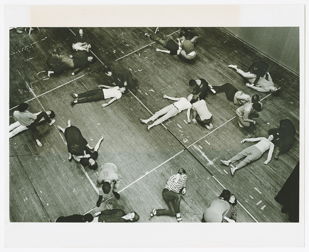 Students lying on the floor during an arts workshop in 1968.