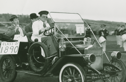 Students driving a car circa thecirca 1950s
