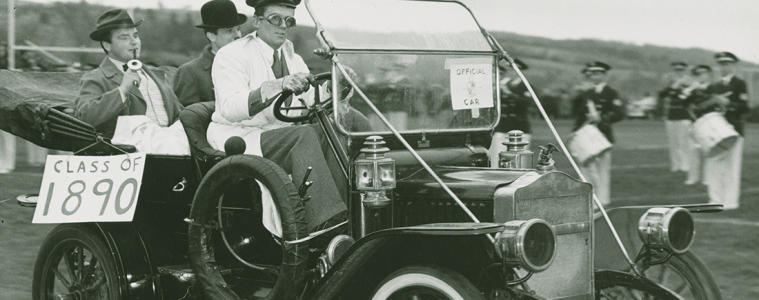Students driving a car circa thecirca 1950s