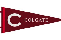 "Colgate pennant showcasing the Colgate ""C"" and traditional maroon with complementary red color"