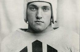 Archival photo of Daniel Fortmann '36 in Colgate football uniform