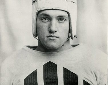 Archival photo of Daniel Fortmann '36 in Colgate football uniform