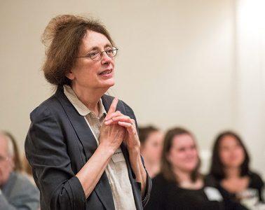 Literature professor Margaret Maurer moderating book club