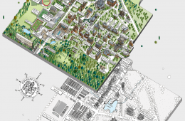 Illustration of Colgate's campus now and 70 years ago.