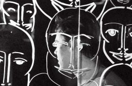 Portrait by Thea Traff '13 in which the subject's face is obscured by patterned glass