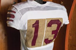Colgate's homecoming uniform with burlap number patches