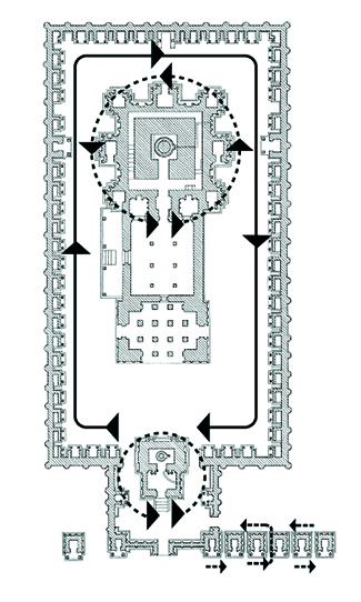 a diagram showing the direction you should walk around the temple.