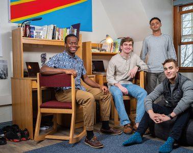 Thomas Dunia, Edward Bass, Ebrahim Almansob, and Jack Kohler in their dorm room