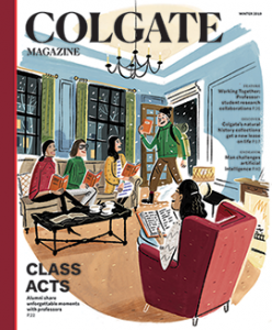 Cover of the Winter 2019 issue featuring an illustration of a faculty member entering a building holding a book