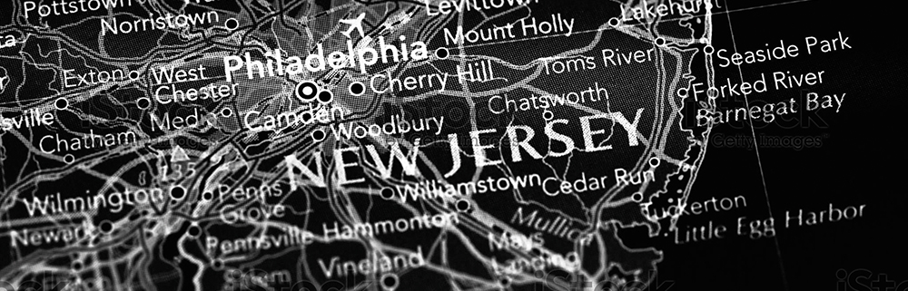 black and white map of New Jersey