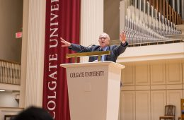 Alan Dershowitz at podium in Colgate Memorial Chapel