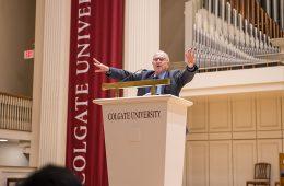 Alan Dershowitz at podium in Colgate Memorial Chapel