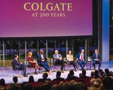 """CPN panel with """"Colgate at 200 Years"""" banner"""