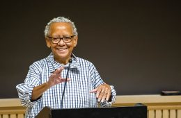 Nikki Giovanni speaking at podium