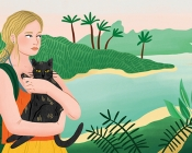 Illustration of woman holding cat before jungle scene