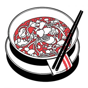 illustration of bowl of pho with chopsticks