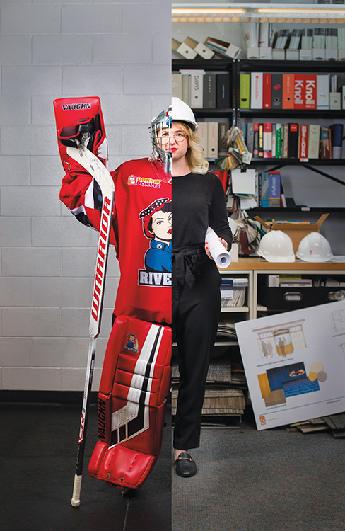Composite of Kimberly Sass '12 in hockey gear and office wear