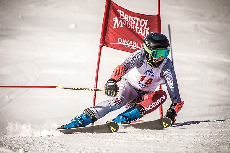 colgate student racing on skis