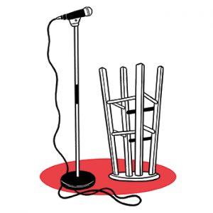 illustration of microphone and upside-down stool
