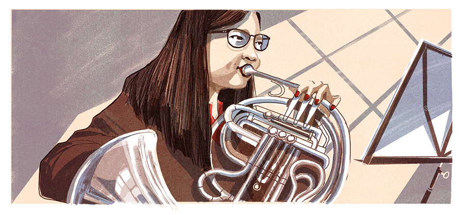 illustration of a girl playing the french horn