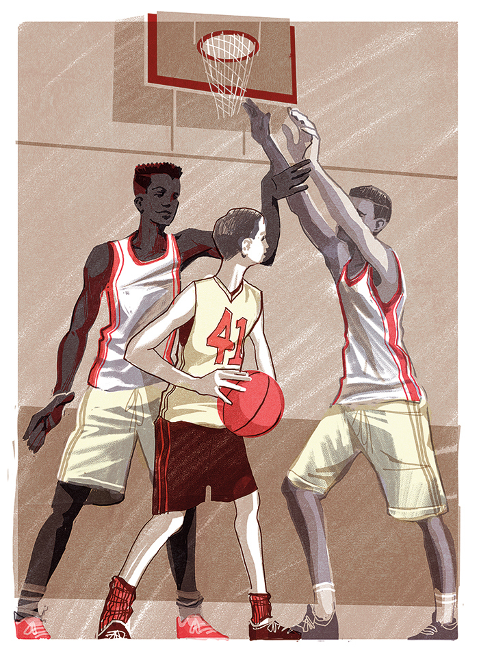 illustration of a short boy being overtowered by taller boys while playing basketball