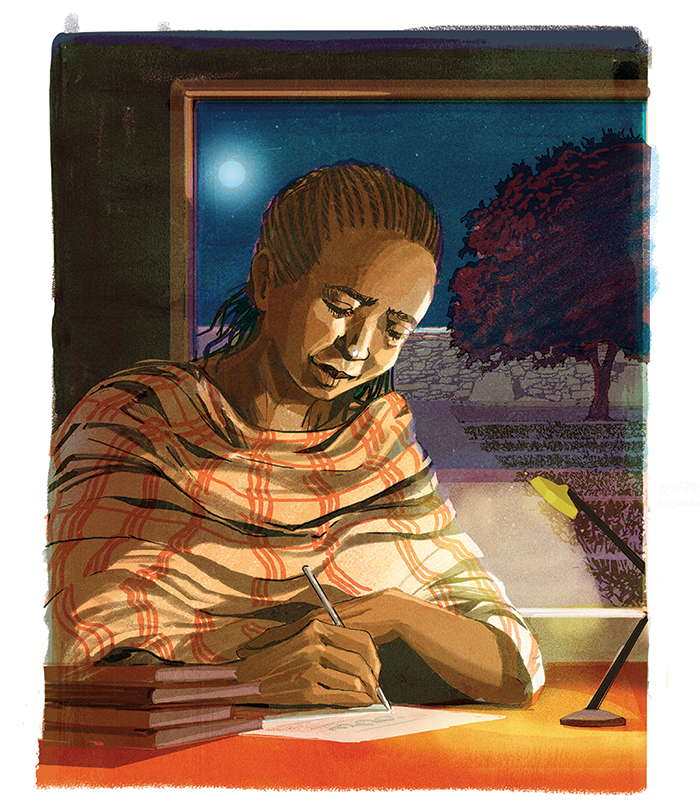 illustration of a woman studying at night with a small desk light