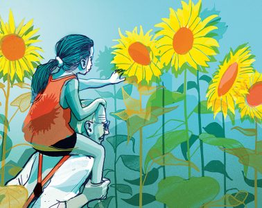 illustration of a grandfather giving his granddaughter a piggyback ride through tall sunflowers