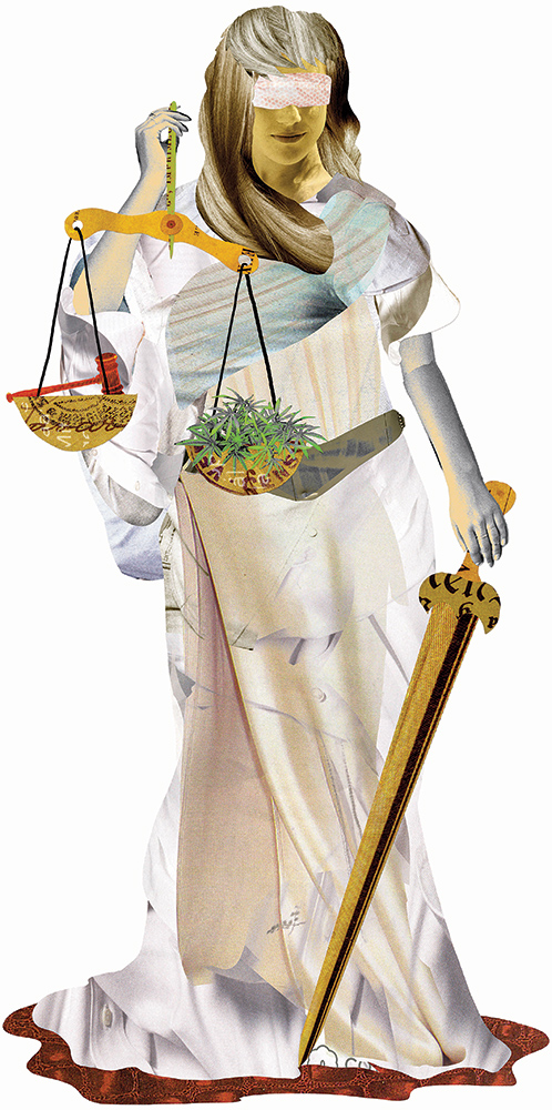 a collage illustration of blind Lady Justice with cannabis leaves on one side of her scale and a gavel on the other