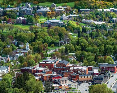 Aerial photograph of the Village of Hamilton and Colgate University