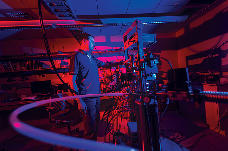 professor Ken Segall in dramatically lit computer lab