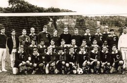 sepia toned photo of 68 men's soccer team