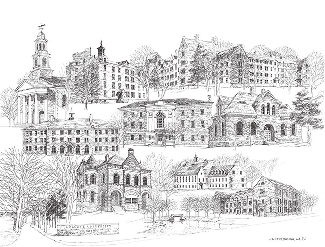 black and white illustration of Colgate academic buildings