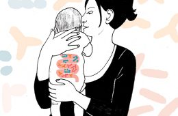 Illustration of woman with baby with visible gut biome