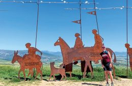 woman standing before copper sculptures of horses