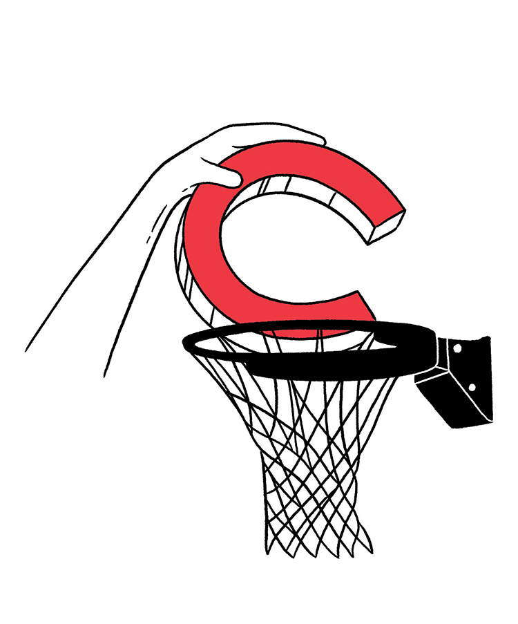illustration of hand dunking a Colgate C into a hoop
