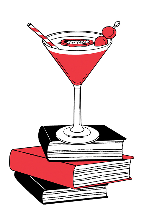 illustration of cocktail resting on stacked books
