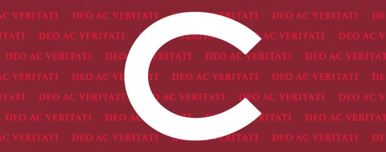 The Colgate C over a red and maroon pattern reading DEO AC VERITATI