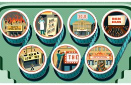 Illustrations of the various eras of the Hamilton Movie Theater